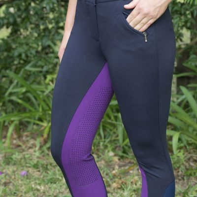 Navy/purple breeches with full gel seat